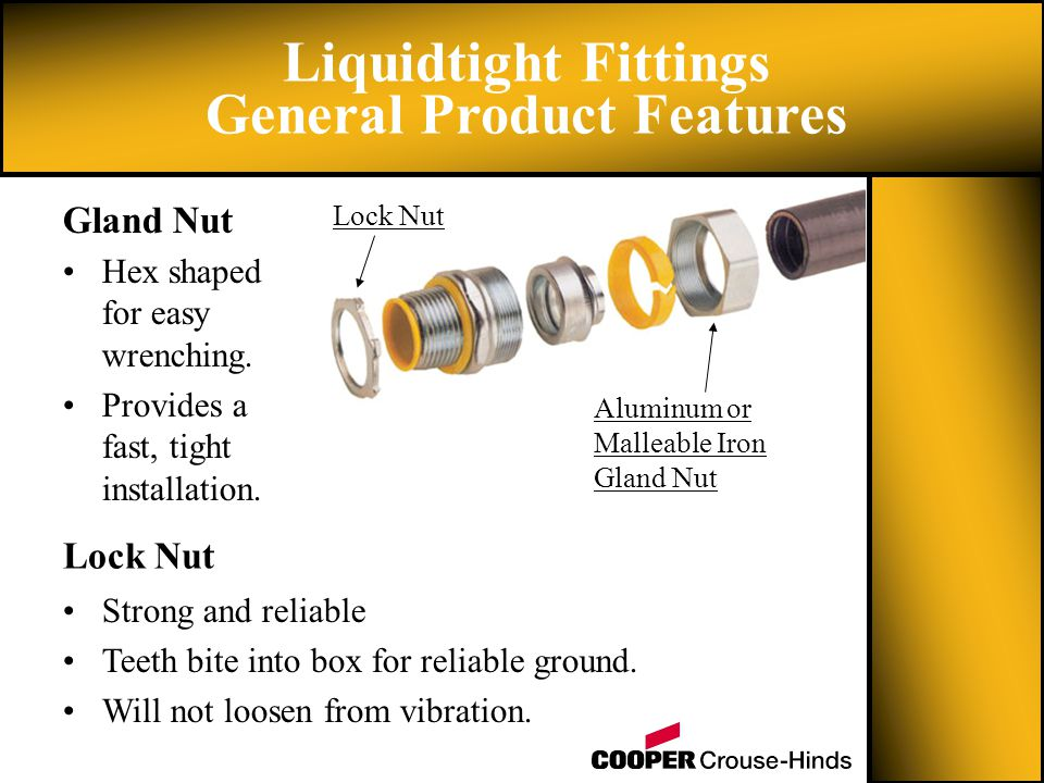 Liquidtight Fittings General Product Features Hex shaped for easy wrenching.