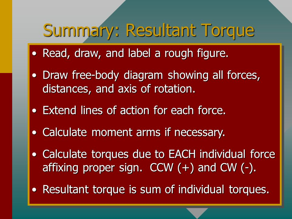 Example 2 (Conclusion): Find resultant torque about axis A for the arrangement shown below: 30 0 6 m 2 m 4 m 20 N 30 N 40 N A Resultant torque is the sum of individual torques.