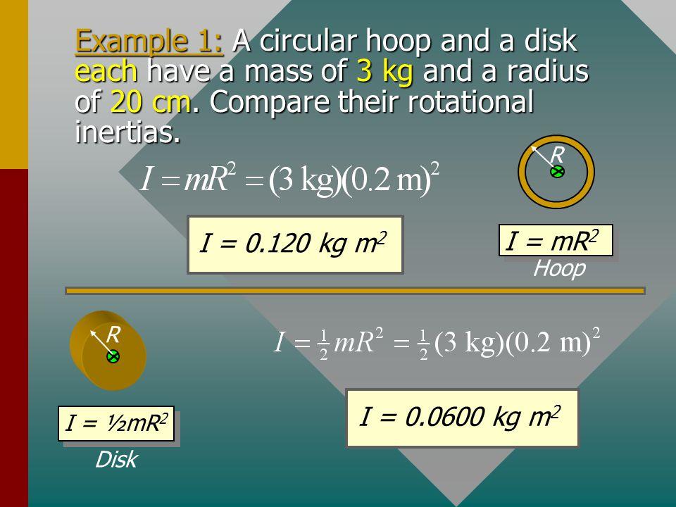 Common Rotational Inertias L L R R R I = mR 2 I = ½mR 2 Hoop Disk or cylinder Solid sphere