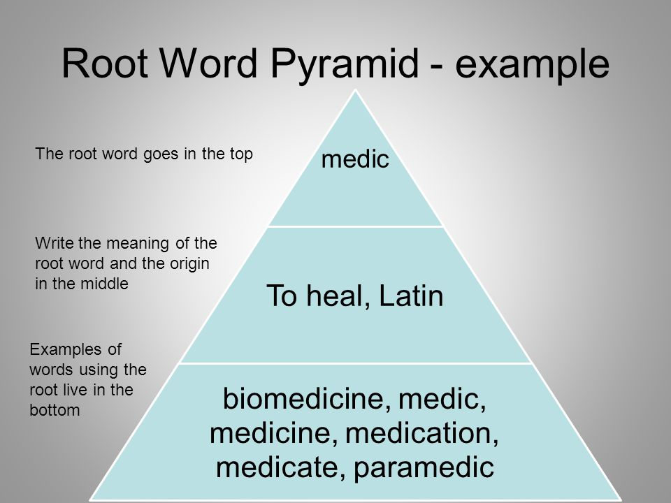 Root Word Pyramid - example medic To heal, Latin biomedicine, medic, medicine, medication, medicate, paramedic The root word goes in the top Write the meaning of the root word and the origin in the middle Examples of words using the root live in the bottom
