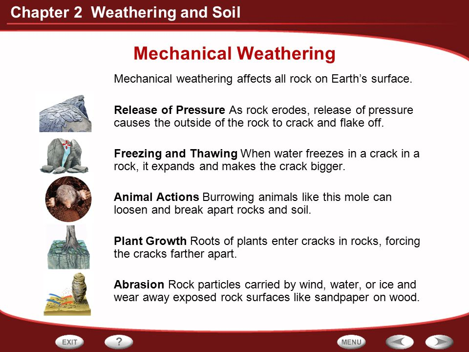 Chapter 2 Weathering and Soil Mechanical Weathering Mechanical weathering affects all rock on Earth's surface. Release of Pressure As rock erodes, rel