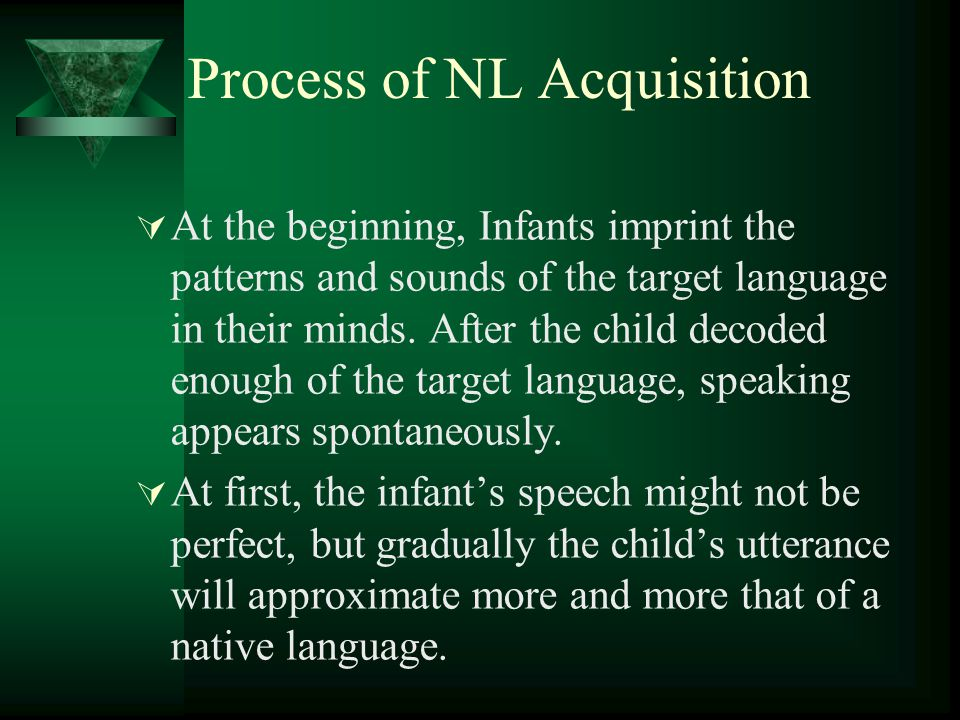 Process of NL Acquisition  At the beginning, Infants imprint the patterns and sounds of the target language in their minds.