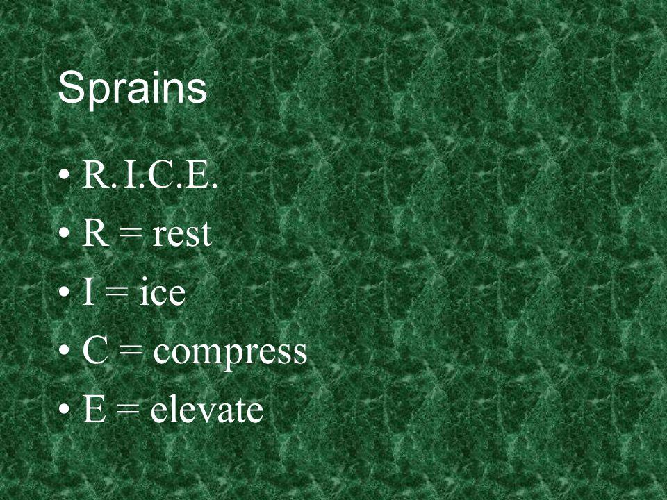 Sprains R.I.C.E. R = rest I = ice C = compress E = elevate
