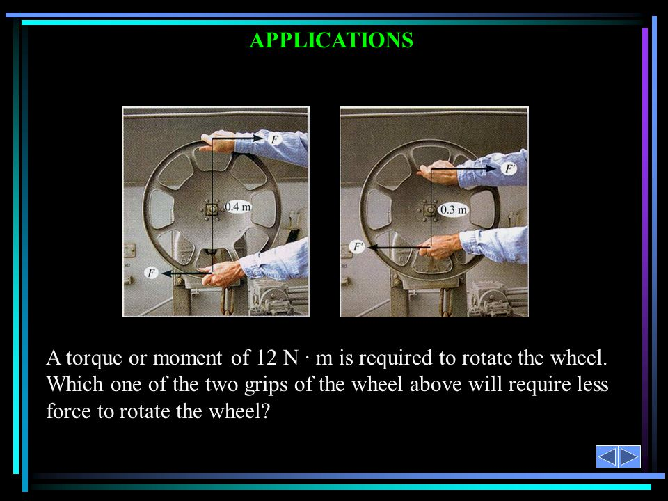 APPLICATIONS A torque or moment of 12 N · m is required to rotate the wheel. Which one of the two grips of the wheel above will require less force to
