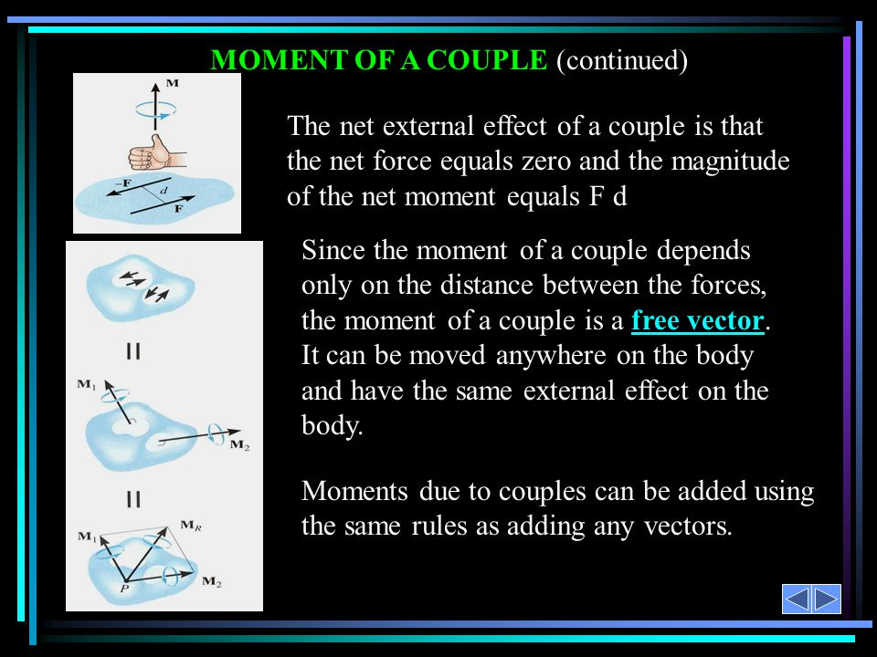 MOMENT OF A COUPLE (continued) The net external effect of a couple is that the net force equals zero and the magnitude of the net moment equals F d Mo