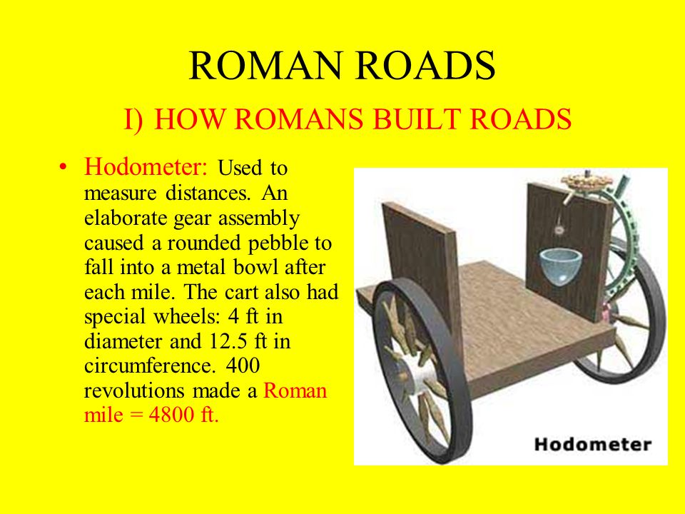 ROMAN ROADS I) HOW ROMANS BUILT ROADS 1) First the two parallel trenches were built on either side of the planned road - The resulting earthworks, stone, etc., was dumped and built up in the space between the two ditches.