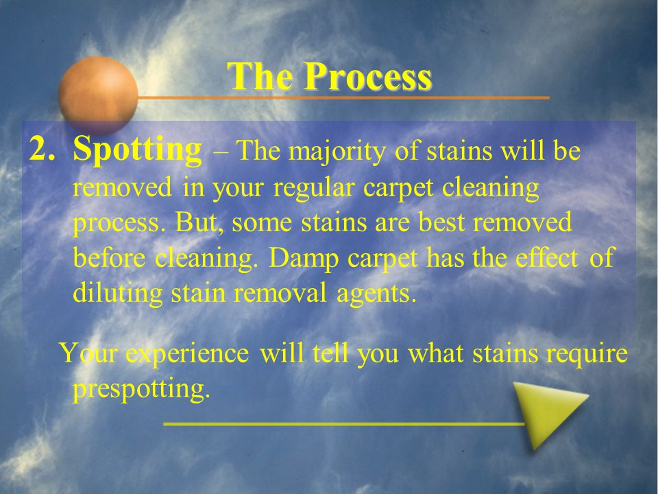 The Process 2.Spotting – The majority of stains will be removed in your regular carpet cleaning process.