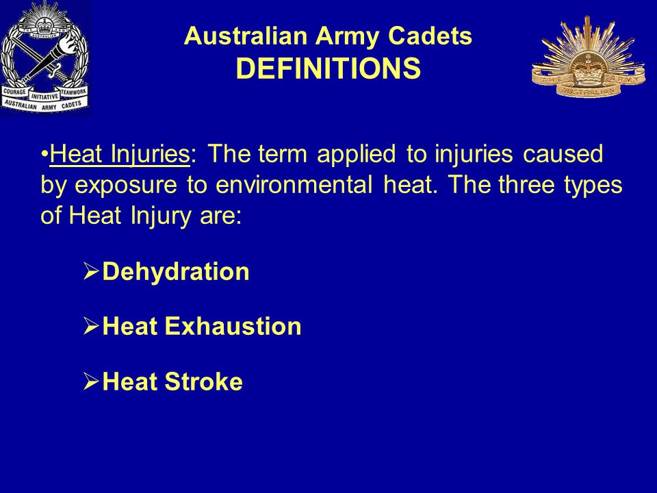 OIC of Activity – To ensure all policies, directives and instructions are included / implemented in their activity Safety Risk Management Plan (SRM) Safety Officers – To ensure that SRM actually occurs on the ground, and if not to stop the Task or activity ADF or ACS – to ensure duty of care for cadets is met and when in doubt stop cadets from participating (stop the Task or activity) Cadets – to ensure that they alert staff immediately of any increased risk factors or symptoms for heat illness, for both self and mates.