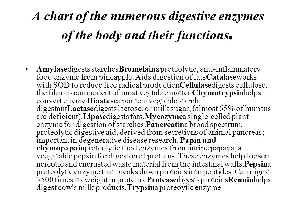 A chart of the numerous digestive enzymes of the body and their functions. Amylasedigests starchesBromelaina proteolytic, anti-inflammatory food enzym