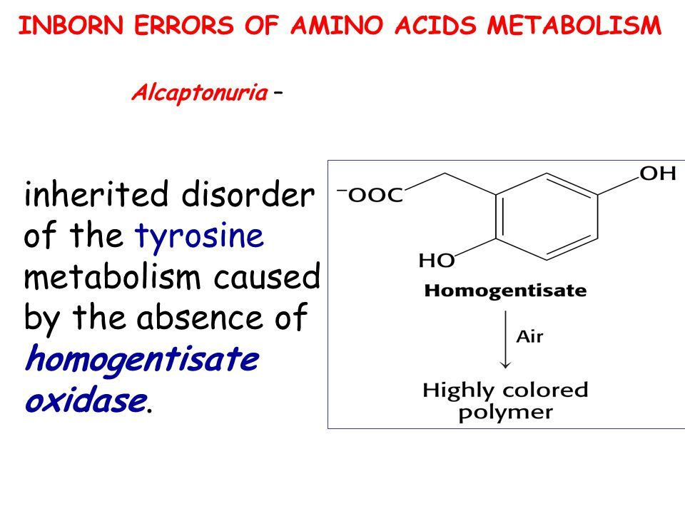 INBORN ERRORS OF AMINO ACIDS METABOLISM inherited disorder of the tyrosine metabolism caused by the absence of homogentisate oxidase. Alcaptonuria –