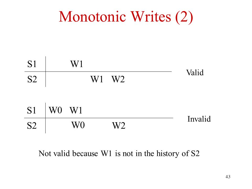 43 Monotonic Writes (2) S1W1 S2W1W2 Valid S1W1 S2W2 Invalid W0 Not valid because W1 is not in the history of S2