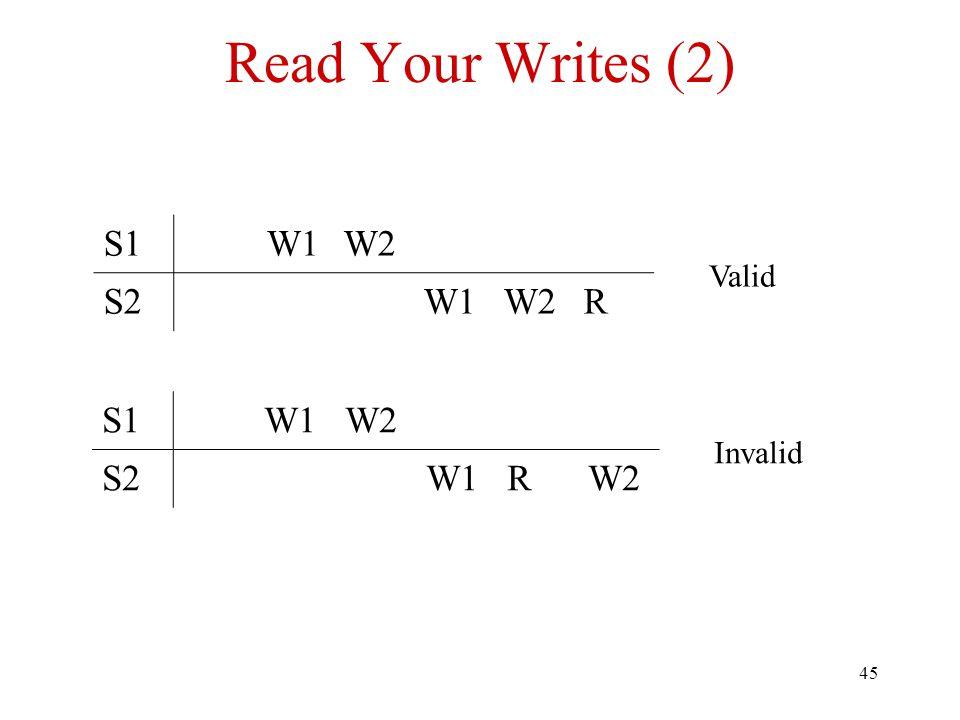 45 Read Your Writes (2) S1W1W2 S2W1W2R Valid S1W1W2 S2W1RW2 Invalid