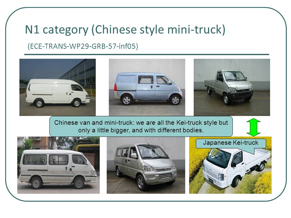 N1 category (Chinese style mini-truck) (ECE-TRANS-WP29-GRB-57-inf05) Chinese van and mini-truck: we are all the Kei-truck style but only a little bigger, and with different bodies.