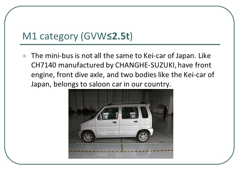M1 category (GVW≤2.5t) The mini-bus is not all the same to Kei-car of Japan.
