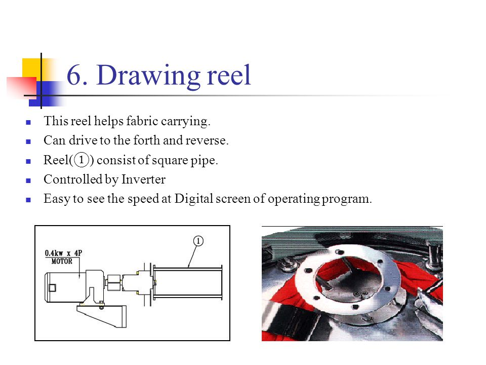 6. Drawing reel This reel helps fabric carrying. Can drive to the forth and reverse. Reel( ① ) consist of square pipe. Controlled by Inverter Easy to