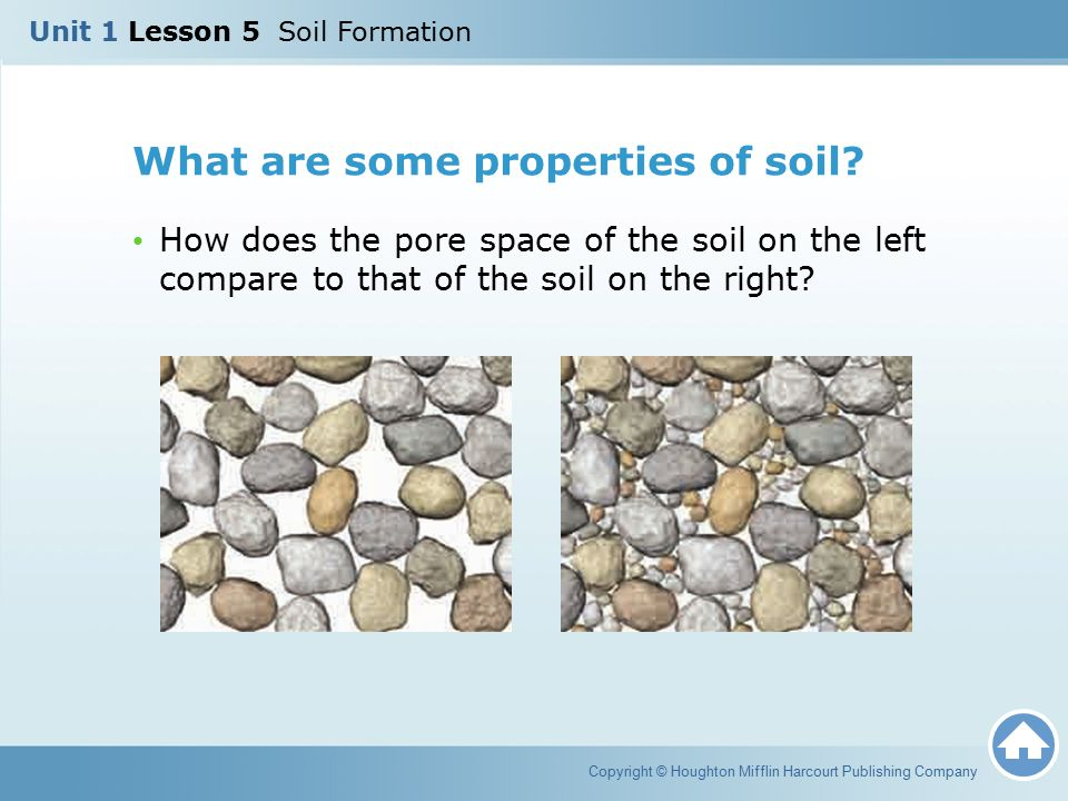 What are some properties of soil? How does the pore space of the soil on the left compare to that of the soil on the right? Copyright © Houghton Miffl