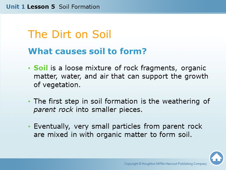 The Dirt on Soil Copyright © Houghton Mifflin Harcourt Publishing Company What causes soil to form? Soil is a loose mixture of rock fragments, organic