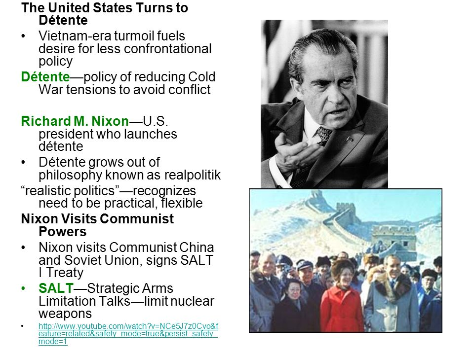 The Collapse of Détente Policy Changes Nixon and Gerald Ford improve relations with Soviets and China Jimmy Carter has concerns about Soviet policies but signs SALT II Congress will not ratify SALT II due to Soviet invasion of Afghanistan Reagan Takes an Anti-Communist Stance Ronald Reagan—anti-Communist U.S.