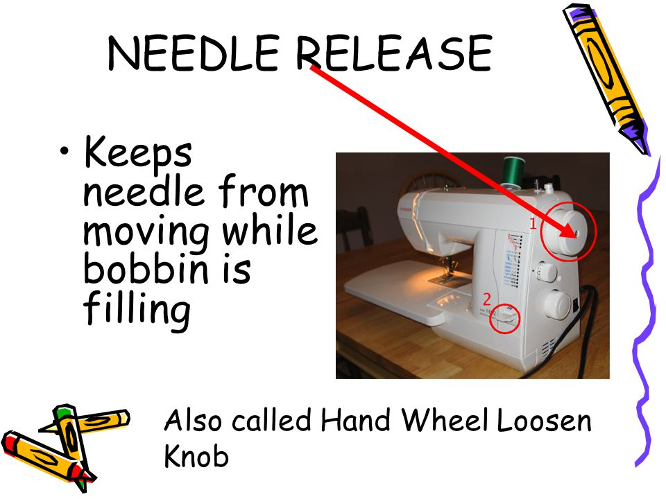 NEEDLE RELEASE Keeps needle from moving while bobbin is filling Also called Hand Wheel Loosen Knob