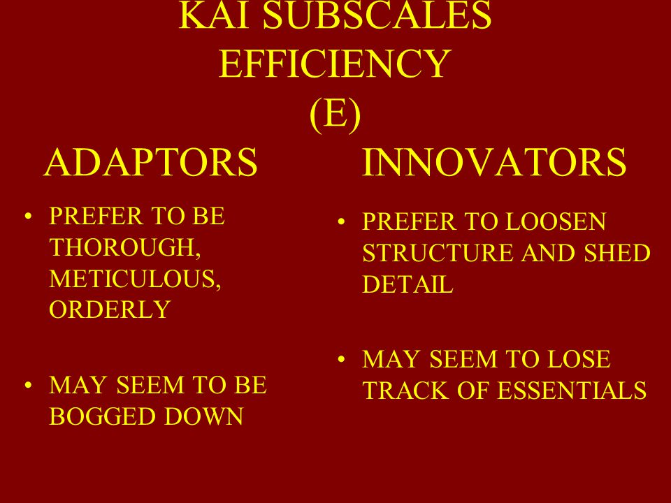 KAI SUBSCALES SUFFICIENCY OF ORIGINALITY (SO) ADAPTORS INNOVATORS PRODUCE FEWER BUT WELL THOUGHT OUT IDEAS (SUFFICIENT ORIGINALITY) GIVE EXTRA IDEAS W