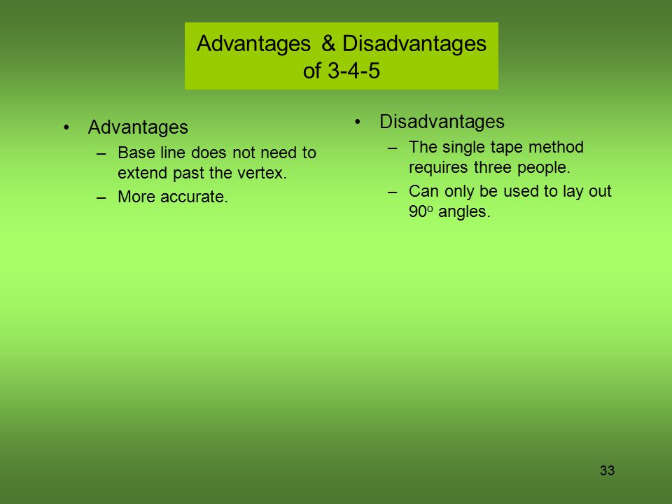33 Advantages & Disadvantages of 3-4-5 Advantages –Base line does not need to extend past the vertex. –More accurate. Disadvantages –The single tape m