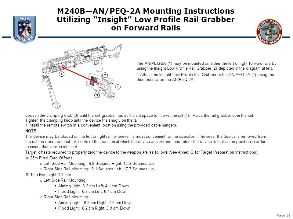 "Page 11 1 2 3 4 M240B—AN/PEQ-2A Mounting Instructions Utilizing ""Insight"" Low Profile Rail Grabber on Forward Rails The AN/PEQ-2A (1) may be mounted o"