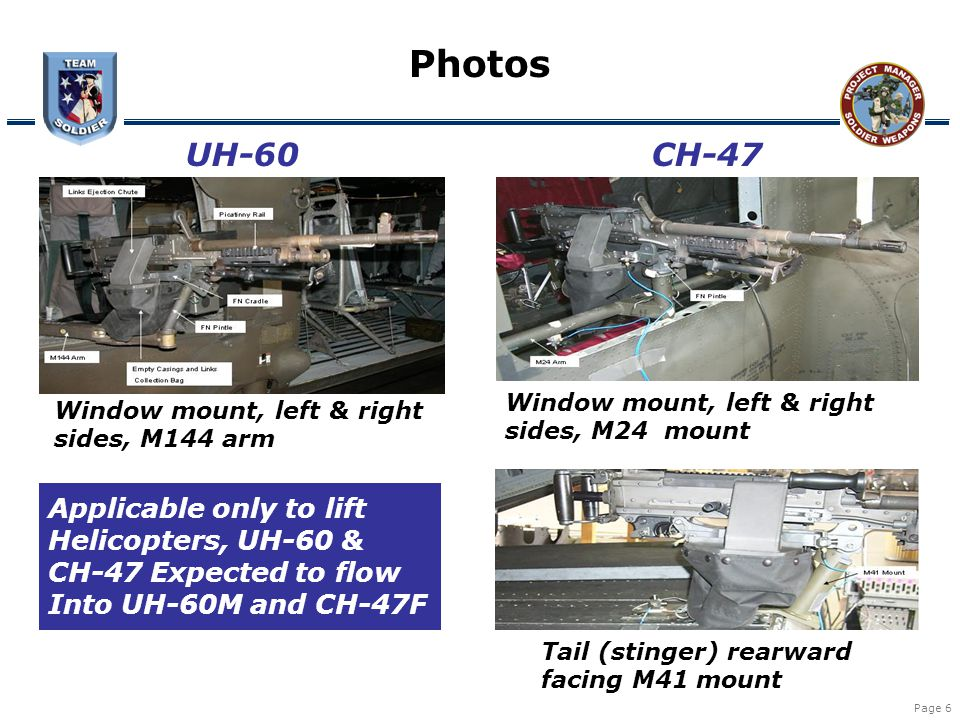 Page 6 Photos UH-60CH-47 Window mount, left & right sides, M144 arm Window mount, left & right sides, M24 mount Tail (stinger) rearward facing M41 mou