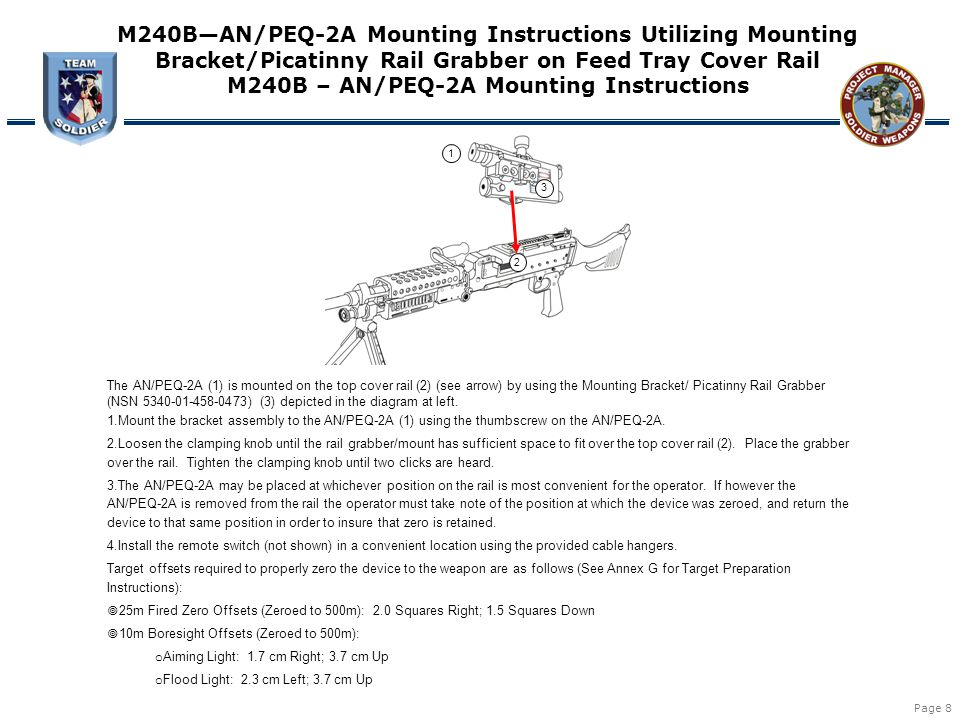 Page 8 1 2 3 M240B—AN/PEQ-2A Mounting Instructions Utilizing Mounting Bracket/Picatinny Rail Grabber on Feed Tray Cover Rail M240B – AN/PEQ-2A Mountin