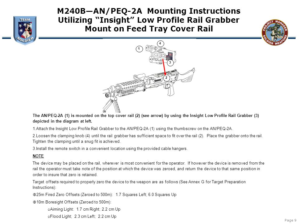 "Page 9 1 2 3 4 M240B—AN/PEQ-2A Mounting Instructions Utilizing ""Insight"" Low Profile Rail Grabber Mount on Feed Tray Cover Rail The AN/PEQ-2A (1) is m"