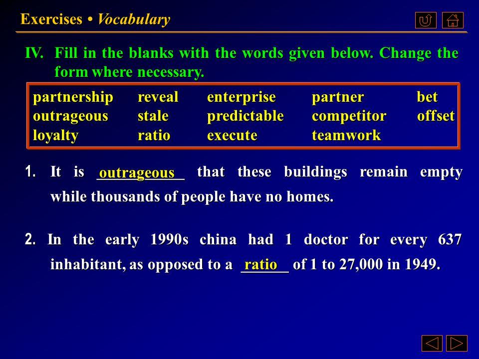 Ex. IV, p. 228 《读写教程 IV 》 : Ex. IV, p. 228 Exercises Vocabulary