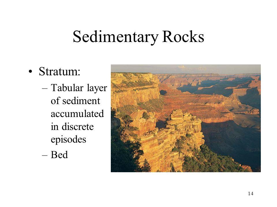 14 Sedimentary Rocks Stratum: –Tabular layer of sediment accumulated in discrete episodes –Bed