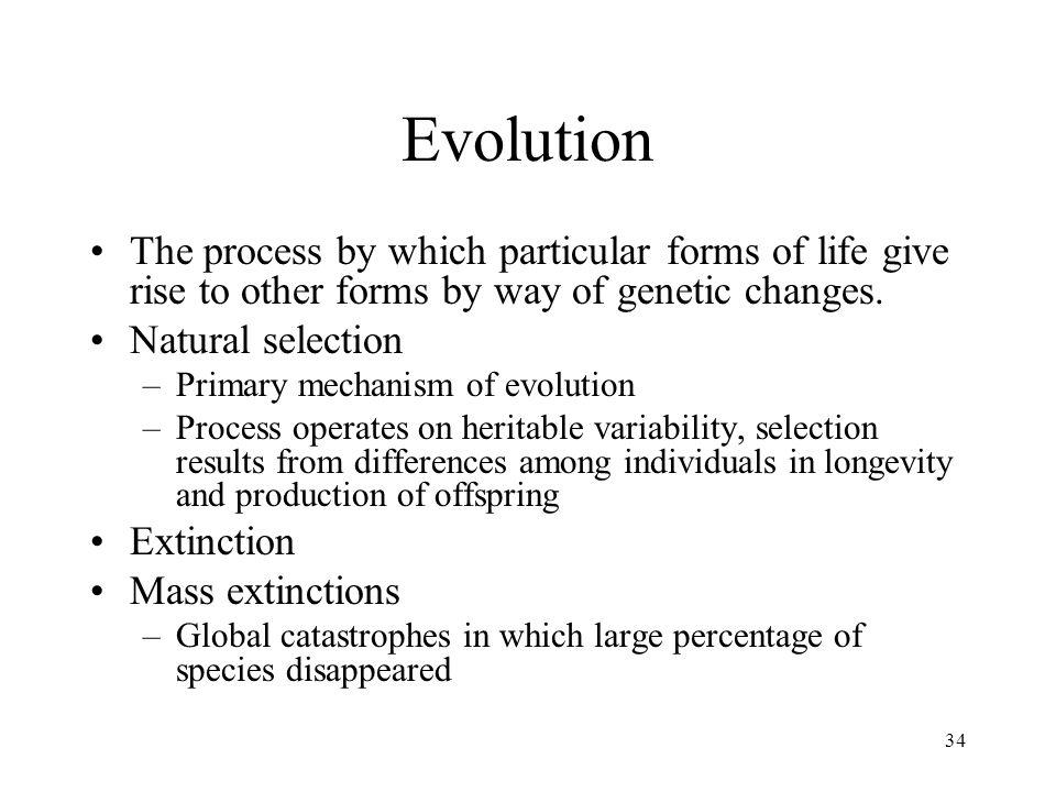 34 Evolution The process by which particular forms of life give rise to other forms by way of genetic changes.