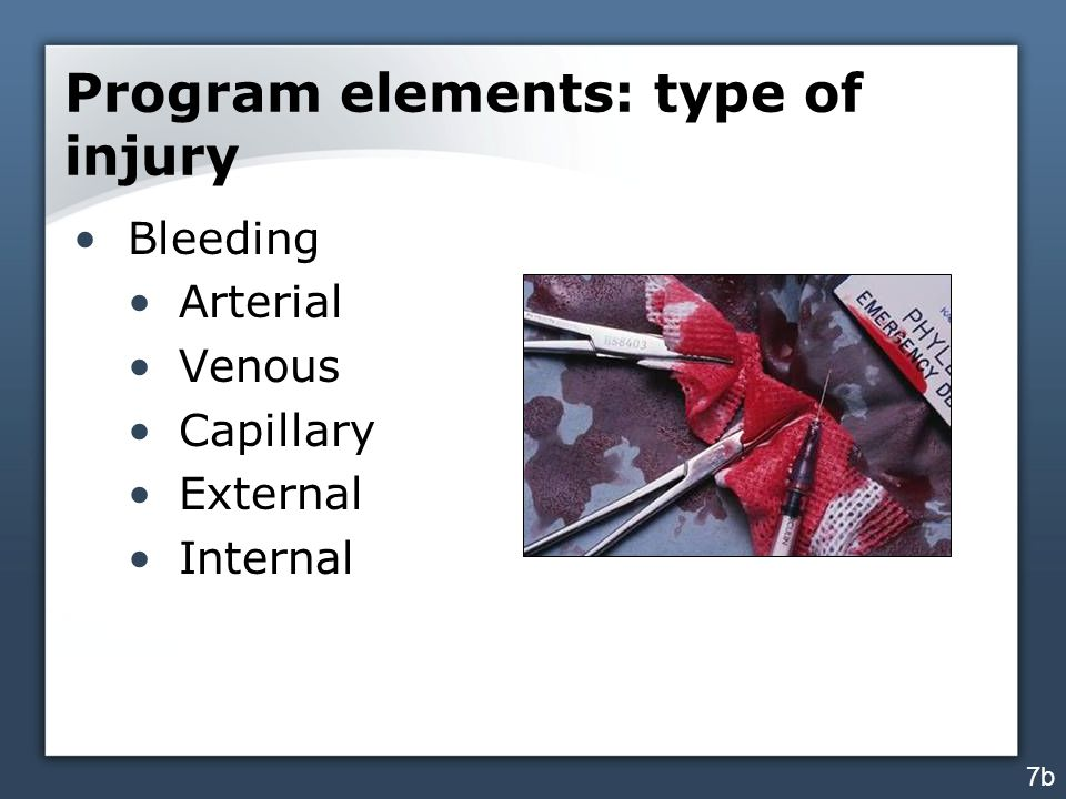 Program elements: type of injury Bleeding Arterial Venous Capillary External Internal 7b