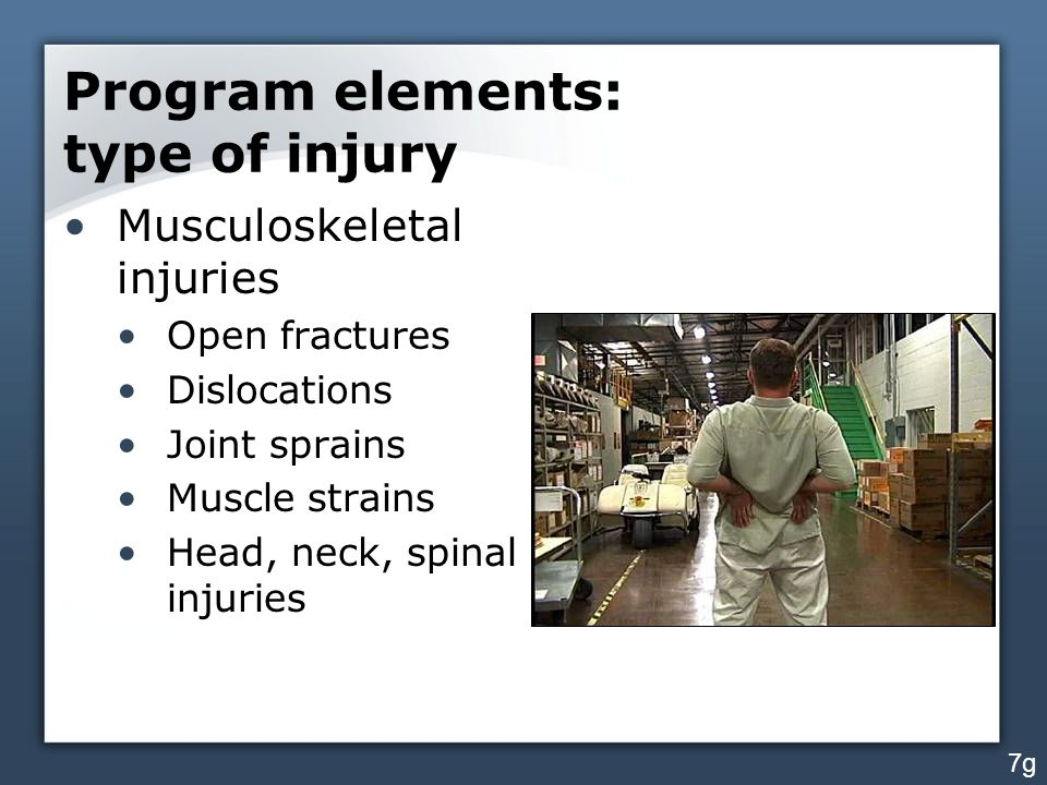 Program elements: type of injury Musculoskeletal injuries Open fractures Dislocations Joint sprains Muscle strains Head, neck, spinal injuries 7g