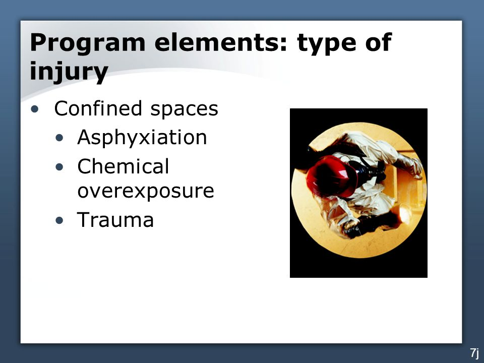 Program elements: type of injury Confined spaces Asphyxiation Chemical overexposure Trauma 7j