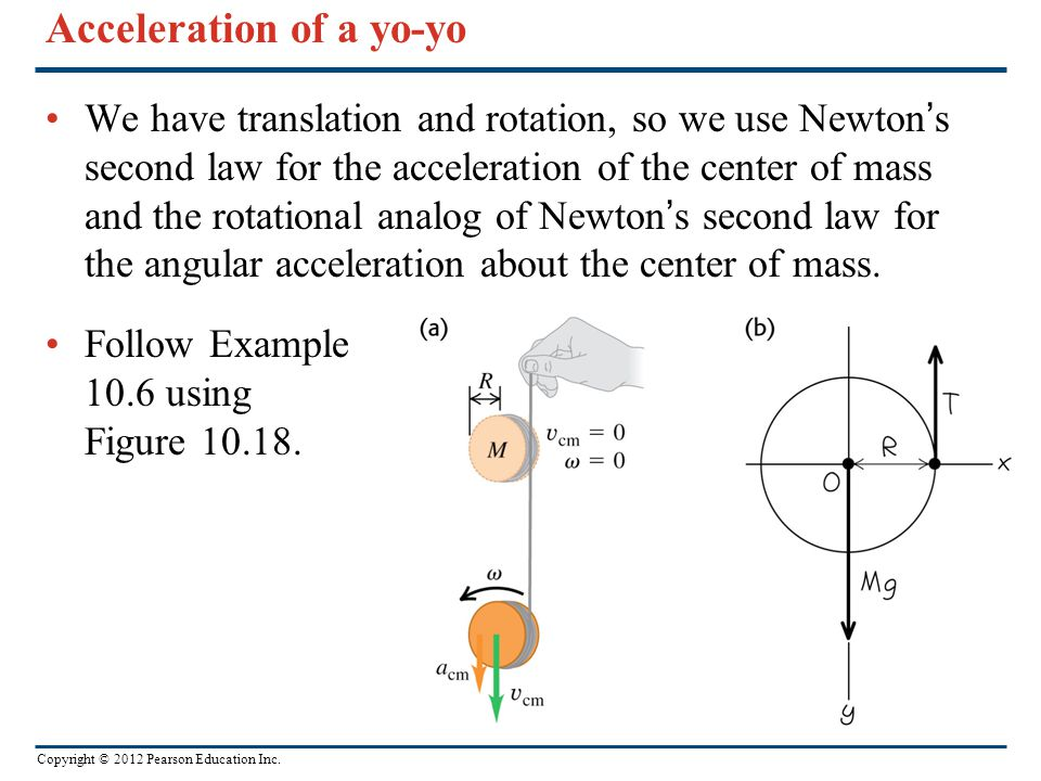 Copyright © 2012 Pearson Education Inc. Acceleration of a yo-yo We have translation and rotation, so we use Newton's second law for the acceleration o