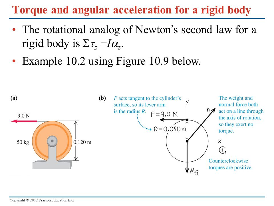 Copyright © 2012 Pearson Education Inc. Torque and angular acceleration for a rigid body The rotational analog of Newton's second law for a rigid body