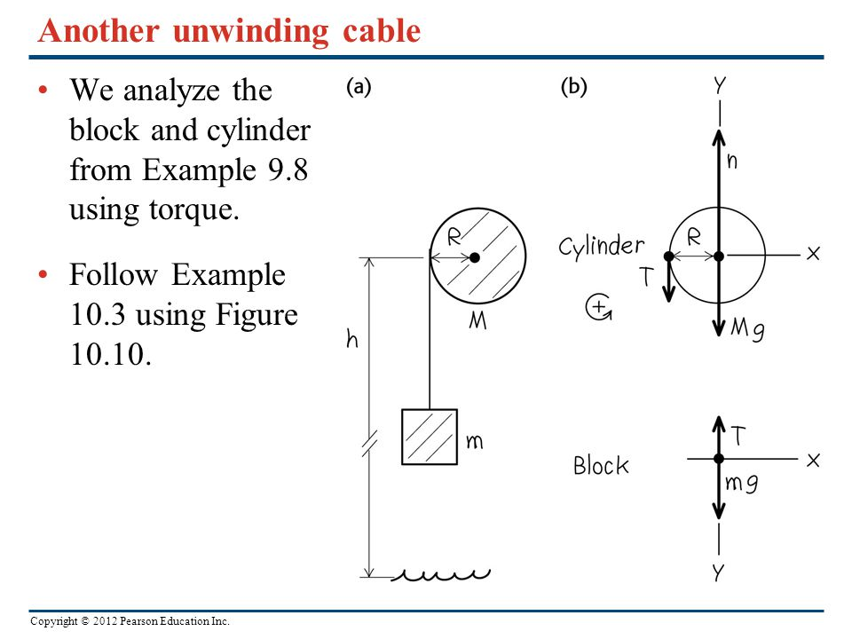 Copyright © 2012 Pearson Education Inc. Another unwinding cable We analyze the block and cylinder from Example 9.8 using torque. Follow Example 10.3 u