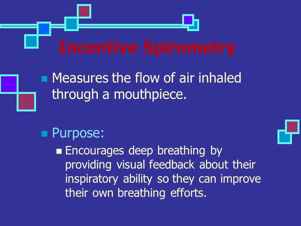 Incentive Spirometry Measures the flow of air inhaled through a mouthpiece. Purpose: Encourages deep breathing by providing visual feedback about thei