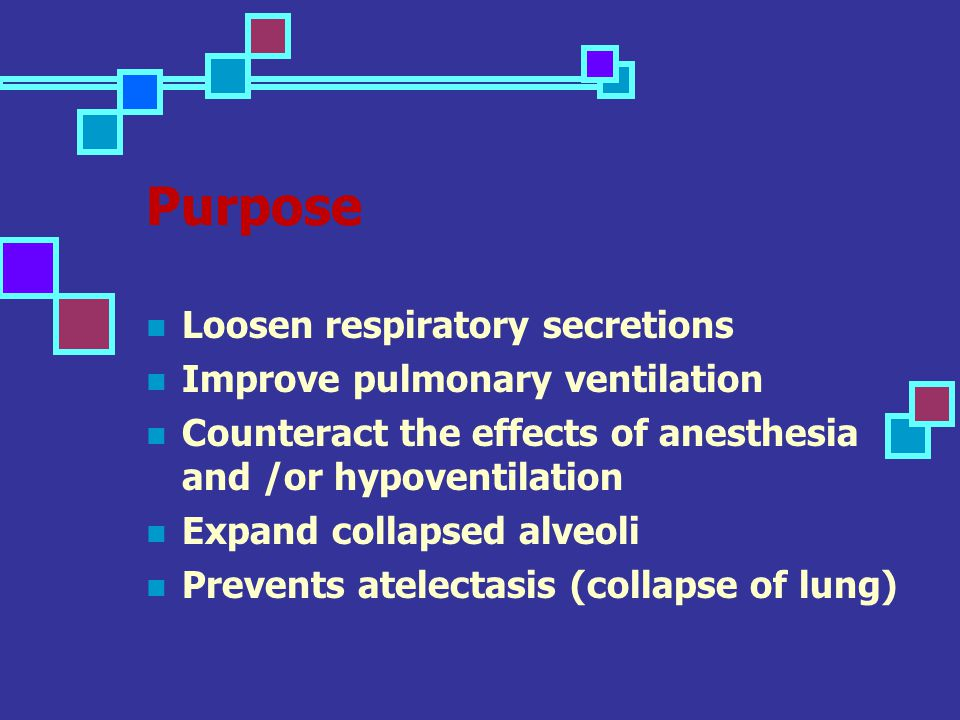 Purpose Loosen respiratory secretions Improve pulmonary ventilation Counteract the effects of anesthesia and /or hypoventilation Expand collapsed alve