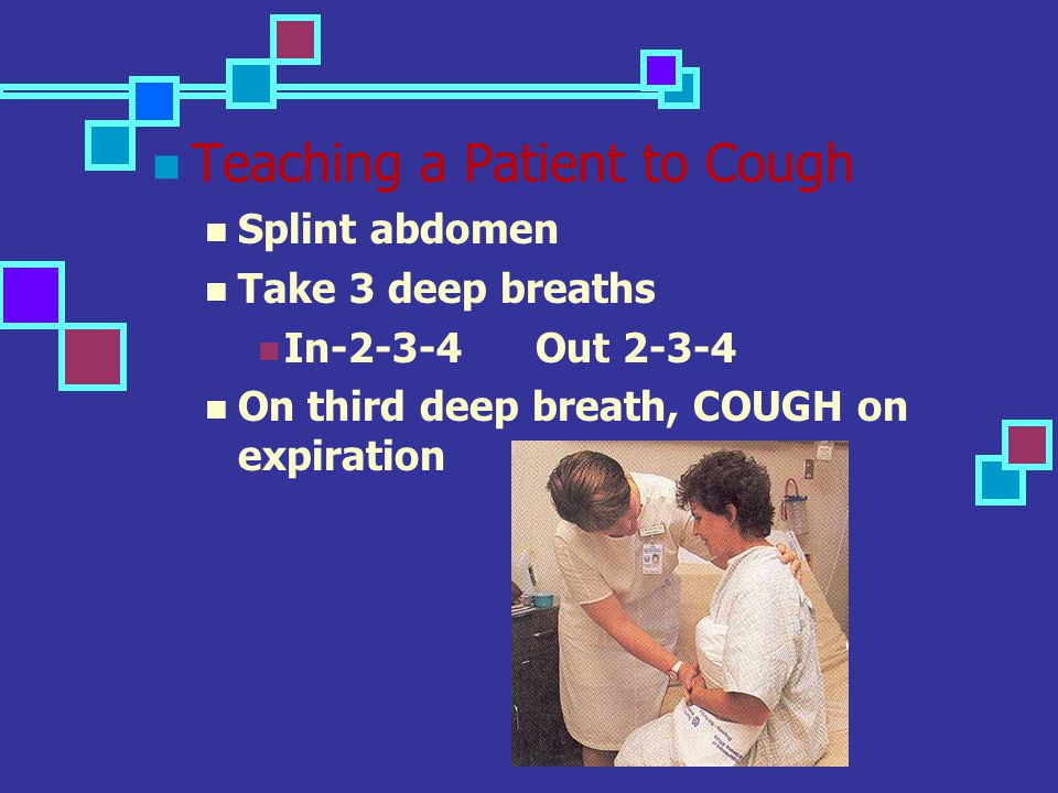 Teaching a Patient to Cough Splint abdomen Take 3 deep breaths In-2-3-4 Out 2-3-4 On third deep breath, COUGH on expiration