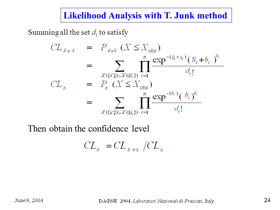 June 9, 200424 Likelihood Analysis with T.