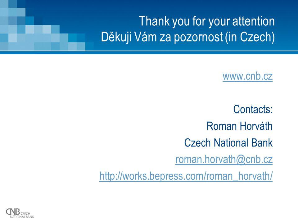 Thank you for your attention Děkuji Vám za pozornost (in Czech) www.cnb.cz Contacts: Roman Horváth Czech National Bank roman.horvath@cnb.cz http://works.bepress.com/roman_horvath/