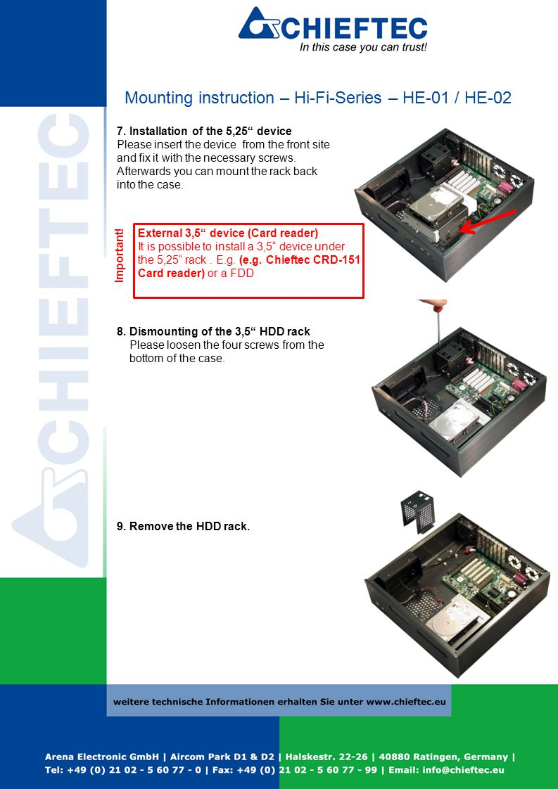 Mounting instruction – Hi-Fi-Series – HE-01 / HE-02 7.
