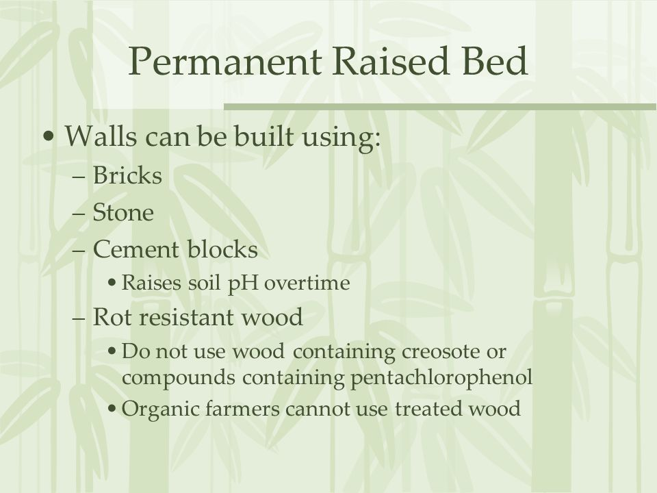 Permanent Raised Bed Frames Should be –No wider than 4 feet Should be able to reach the center from the sides Arms are only so long, narrower if for children –Should be at least 6 high Roots need at least 6-12 of soil Be sure to dig and amend the soil below the frame before adding new soil.