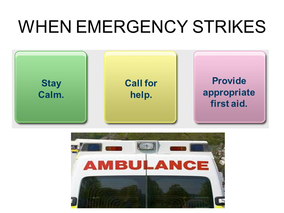 WHEN EMERGENCY STRIKES Stay Calm. Call for help. Provide appropriate first aid.