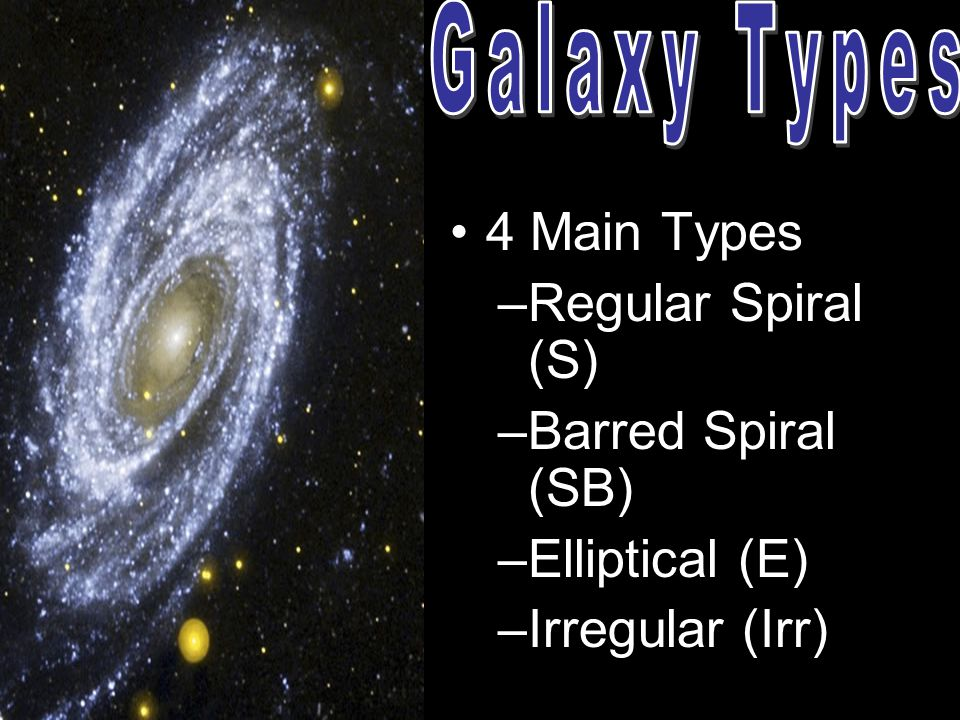 4 Main Types –Regular Spiral (S) –Barred Spiral (SB) –Elliptical (E) –Irregular (Irr)