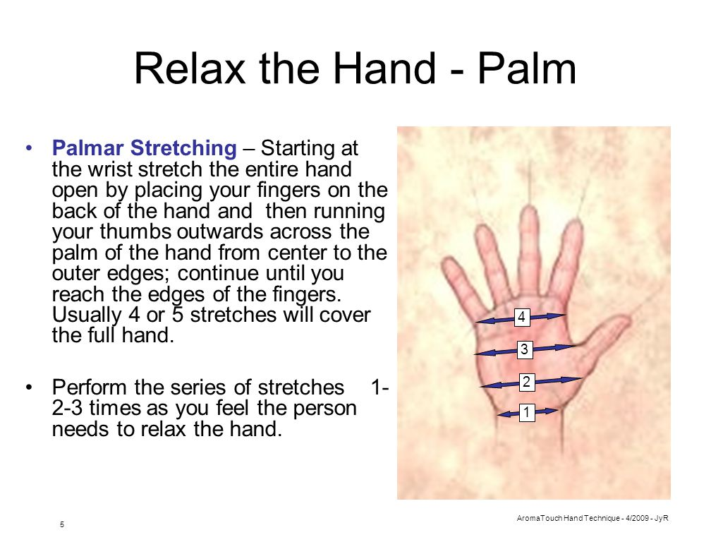 AromaTouch Hand Technique - 4/2009 - JyR 6 Massage the Hand Sections The hand is divided into 3 sections: –Section 1 is off to the side and the heal from the thumb –Section 2 is the heal and mid section below the pinky –Section 3 is from the center of the palm, out to the sides of the hand and up to all the edges of the fingers Using gentle but firm pressure massage each section starting with 1 then 2 then 3 to loosen the hand and increase the blood flow.