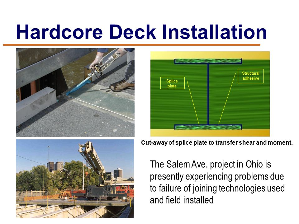 Hardcore Deck Installation Cut-away of splice plate to transfer shear and moment.