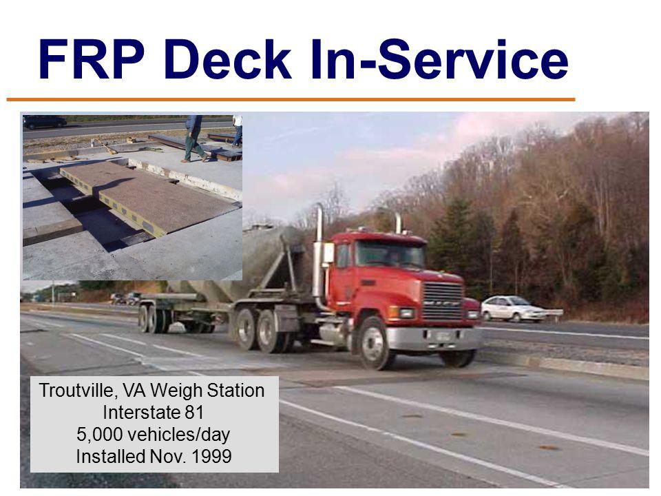 FRP Deck In-Service Troutville, VA Weigh Station Interstate 81 5,000 vehicles/day Installed Nov.